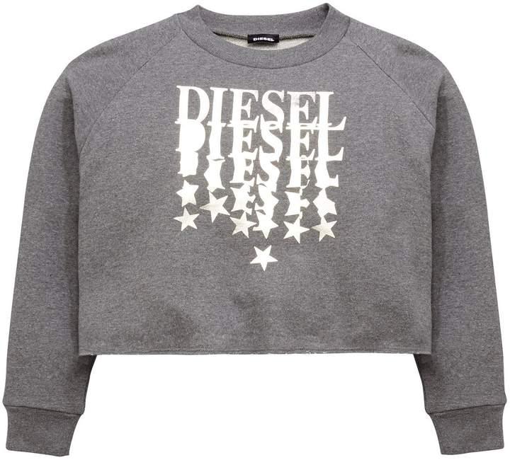 Diesel Girls Logo Boxy Crop Sweatshirt