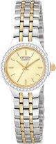 JCPenney Citizen Quartz Citizen Womens Crystal-Accent Two-Tone Bracelet Watch EJ6044-51P