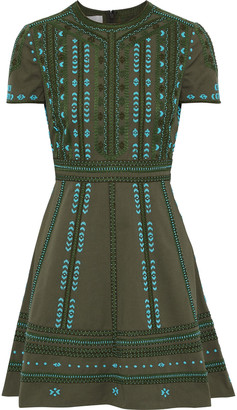 Valentino Embellished Cotton-twill Mini Dress