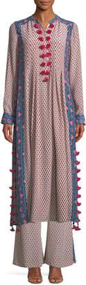 Figue Rumi Long-Sleeve Floral-Print Silk Crepe de Chine Maxi Dress