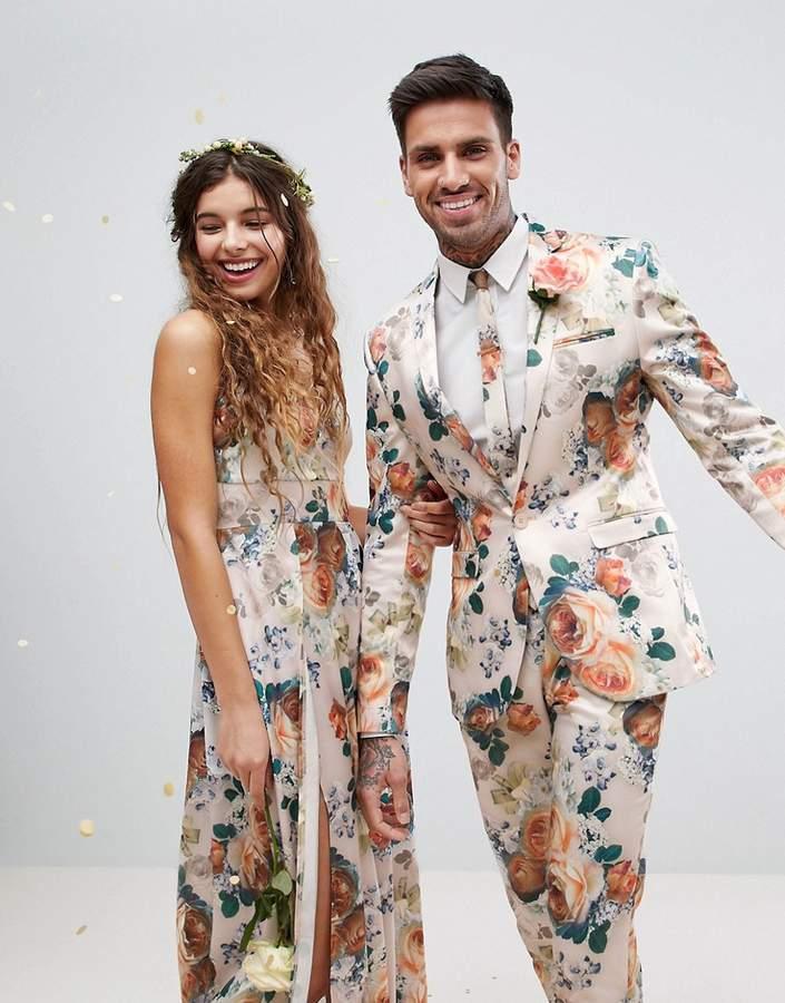 Asos Design Wedding Super Skinny Suit Jacket In Champagne Floral