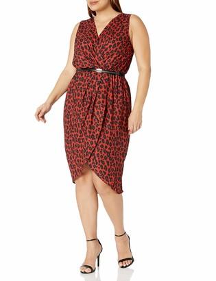 City Chic Women's Apparel Women's Plus Size Printed Faux wrap midi Dress with Belt