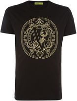 Versace Regular Fit Large Embroidered Logo T-shirt