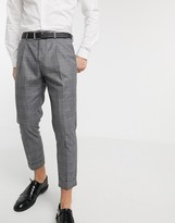 Shelby & Sons tapered cropped trousers with single pleat in mono check