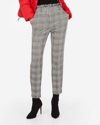 Express High Waisted Plaid Frayed Ankle Pant