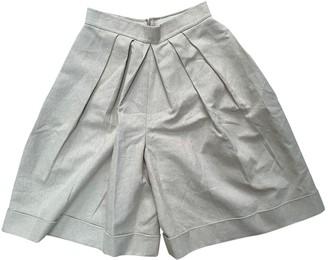 DELPOZO Beige Cloth Shorts for Women
