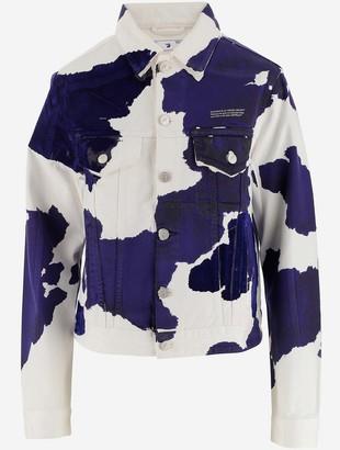 Off-White All-Over Print White Cotton Denim Women's Jacket