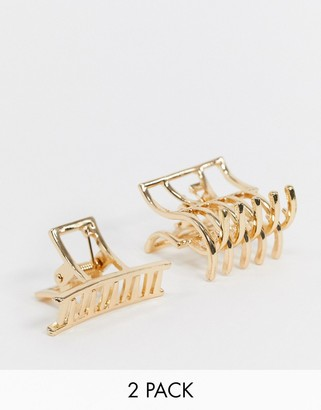 ASOS DESIGN pack of 2 mini hair clips in rectangle shape in gold tone