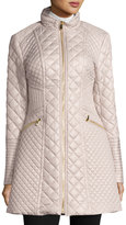 Via Spiga Diamond-Quilted Mid-Length Coat, Oyster