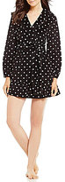 Betsey Johnson Dotted Vintage Terry Ruffled Hooded Wrap Robe