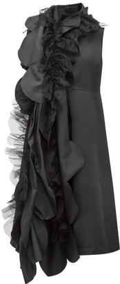 Comme des Garçons Comme des Garçons Scalloped-panel A-line Satin Dress - Black