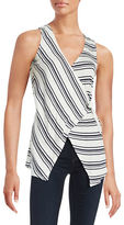 Red Haute Stripe Wrap Sleeveless Top