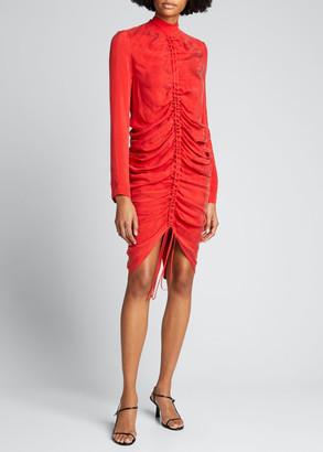 MATÉRIEL Ruched Crepe Long-Sleeve Cocktail Dress