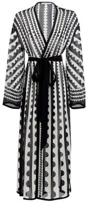 Mary Mare - Cote D'azur Striped Silk-georgette Cover Up - Black Print