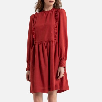 La Redoute Collections Ruffled Smock Mini Dress with Long Sleeves