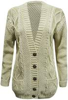 Fashipap Womens Ladies Cable Chunky Knitted 5 Button Long Sleeves Grandad Cardigans M/L (US 8-10)