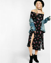 Express floral print off the shoulder long sleeve midi dress