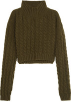 Vivienne Westwood Mud Cropped Twill-paneled Cable-knit Wool-blend Sweater - Green