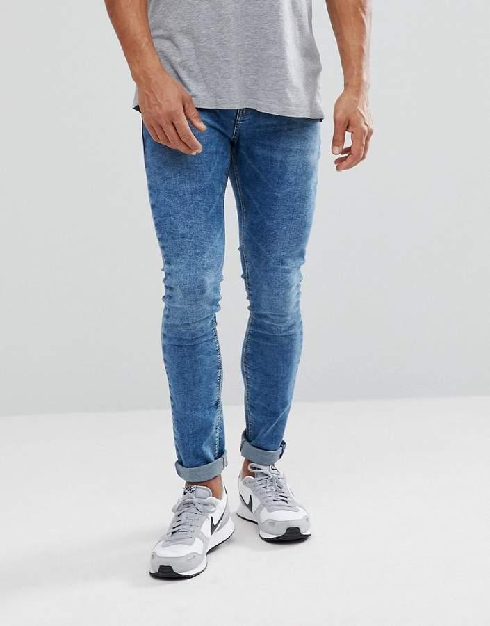 Pull&Bear Super Skinny Jeans In Blue Acid Wash