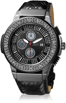 JBW Men's JB-6101L-I Saxon Ion Braided Leather Diamond Watch