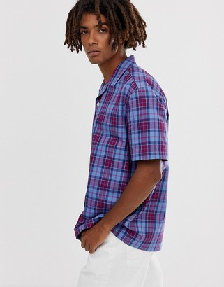 Asos Design DESIGN boxy fit check shirt in blue and purple
