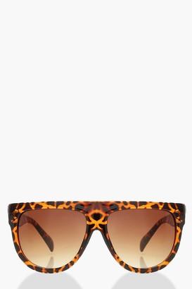 boohoo Leopard Flat Top Oversized Sunglasses
