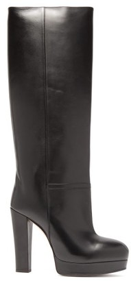 Gucci Britney Platform Leather Knee Boots - Womens - Black