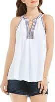 Vince Camuto Embroidered Neck Top