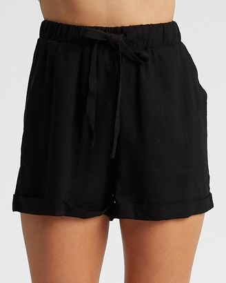 Calli - Women's Black High-Waisted - Linen Blend Shorts - Size 6 at The Iconic