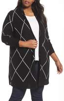 Sejour Plus Size Women's Windowpane Wool & Cashmere Cardigan