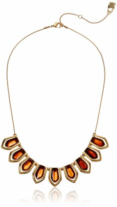 Chaps Women's Gold Tone and Tigers Eye Frontal Necklace One Size