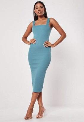 Missguided Blue Square Neck Raw Edge Ribbed Midaxi Dress