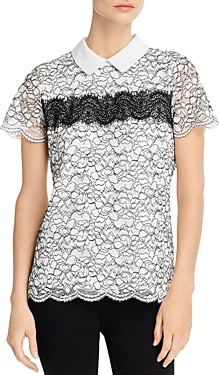 Karl Lagerfeld Paris Short-Sleeve Lace Collared Top