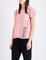 Claudie Pierlot Bento crepe and floral-lace top
