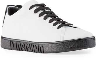Moschino Men's Two-Tone Logo Leather Sneakers