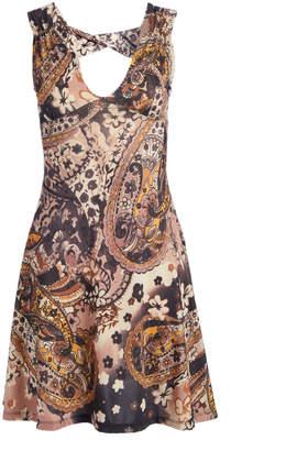 BEIGE Modern Touch Women's Casual Dresses NAVY Paisley Cutout V-Neck Dress - Women