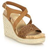 Salvatore Ferragamo Gioela Raffia & Leather Platform Wedge Sandals
