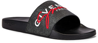 Givenchy Logo Slide in Black & Red | FWRD