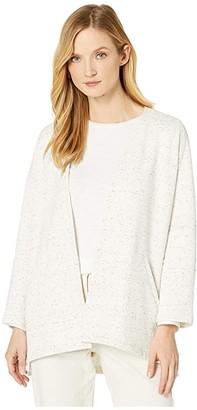 Eileen Fisher Speckled Organic Cotton Terry Kimono Bracelet Sleeve Jacket (Pearl) Women's Clothing