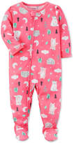 Carter's 1-Pc. Bear-Print Footed Pajamas, Baby Girls