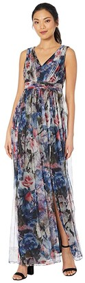 Adrianna Papell V-Neck Floral Tulle Ball Gown (Red/Blue Multi) Women's Dress