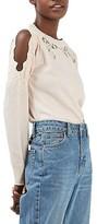 Topshop Women's Lace Trim Cold Shoulder Sweater