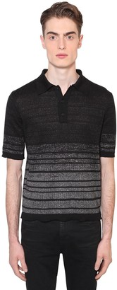 Saint Laurent DEGRADE LINEN BLEND LUREX POLO