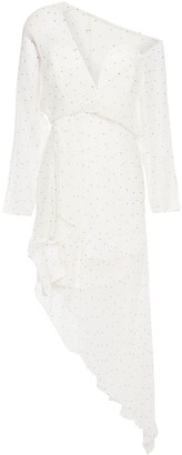 Mason by Michelle Mason Asymmetric Draped Polka-dot Silk-chiffon Dress