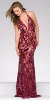 Jovani Sequined Lace Plunging V-neck Prom Dress