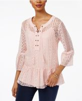 Style&Co. Style & Co Petite Flounce-Hem Lace Peasant Top, Only at Macy's