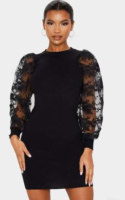 PrettyLittleThing Black Embroidered Mesh Sleeve Knitted Dress
