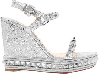 Christian Louboutin Spiked Metallic Cracked-leather Platform Wedge Sandals
