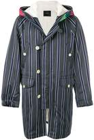Undercover striped hooded coat