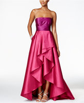 Adrianna Papell Colorblocked Strapless Gown